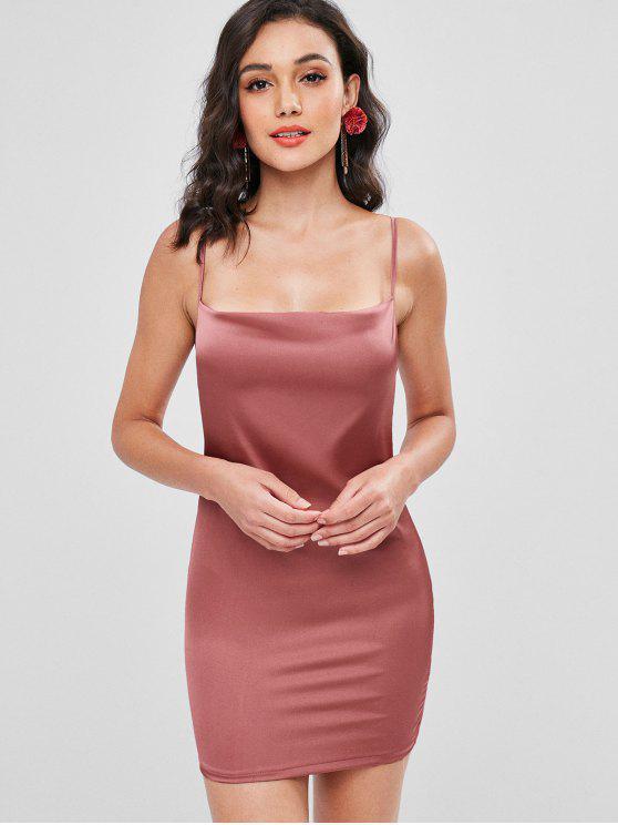 womens Plain Satin Slip Dress - PINK BOW XL