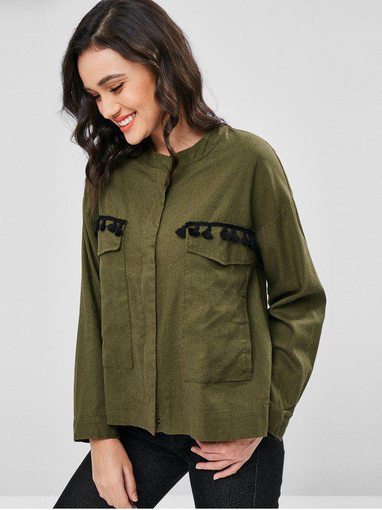 new Tassels Zip Up Shirt Jacket - ARMY GREEN M