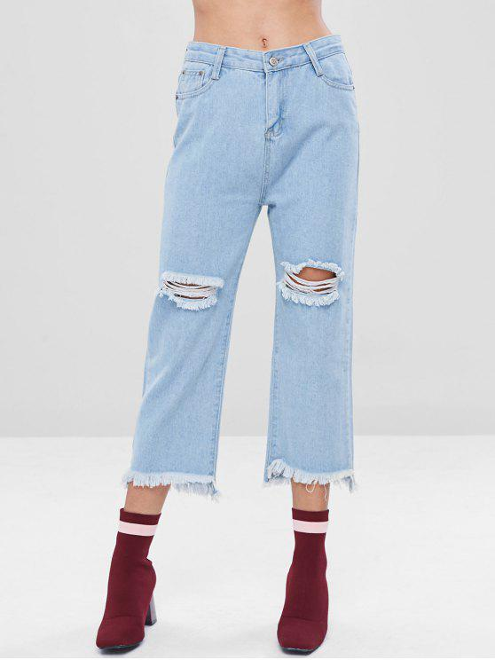 fashion Distressed Light Wash Capri Jeans - POWDER BLUE M