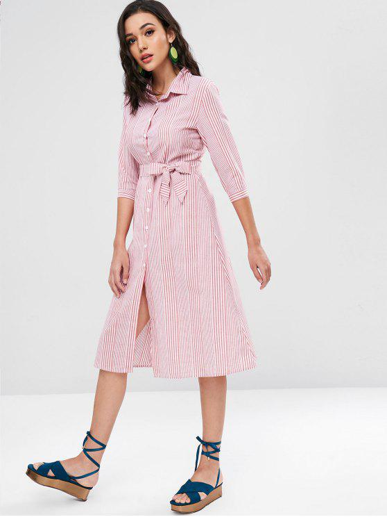 women Belted Striped Shirt Dress - LAVA RED S