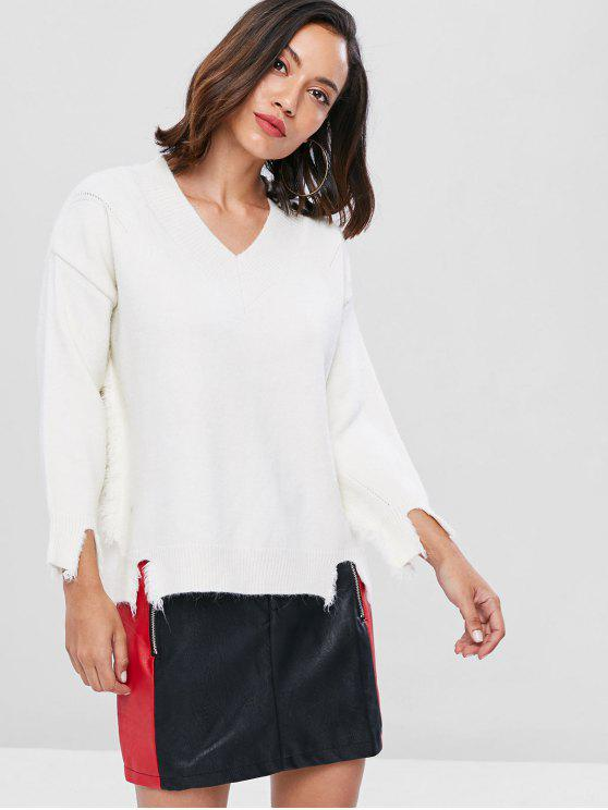 womens Distressed Oversized Sweater - WHITE ONE SIZE