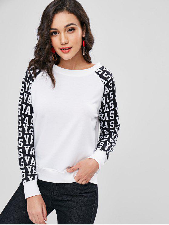 Sweat-shirt Lettre Graphique Bicolore - Blanc S
