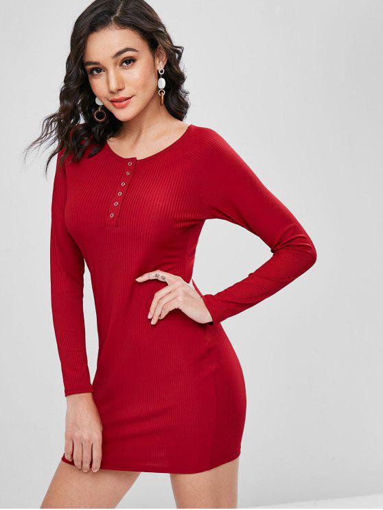 trendy Ribbed Snap Button Mini Dress - CHERRY RED M