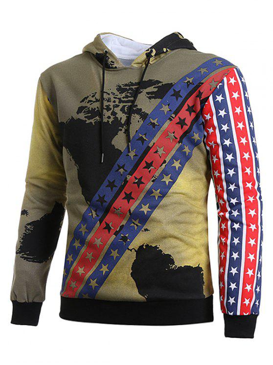 chic Vintage Stars Stripes with Map Hoodie - MULTI-C L