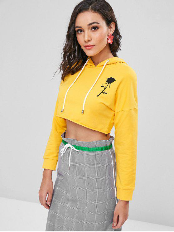 latest Drop Shoulder Rose Graphic Cropped Hoodie - YELLOW L