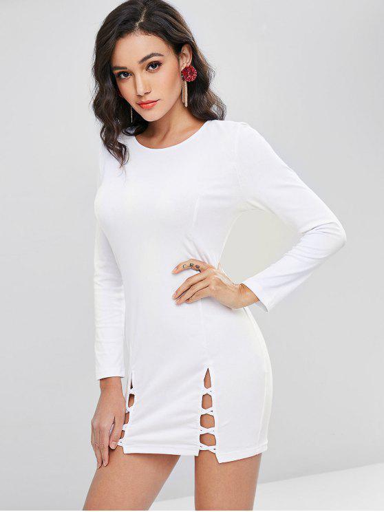 lady Crisscross Split Hem Long Sleeve Bodycon Dress - WHITE S