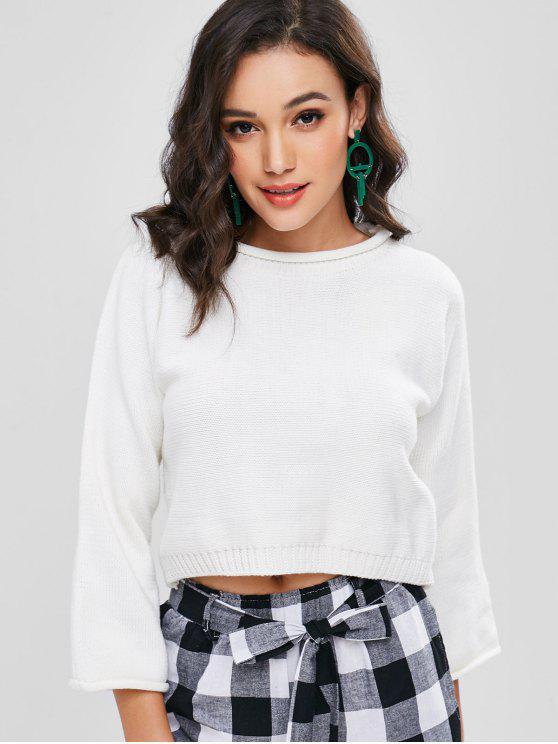 Suéter recogido liso - Blanco M