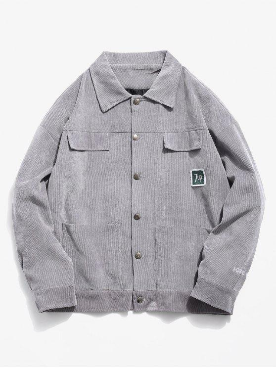 hot Vintage Button Closure Pockets Corduroy Jacket - GRAY XS