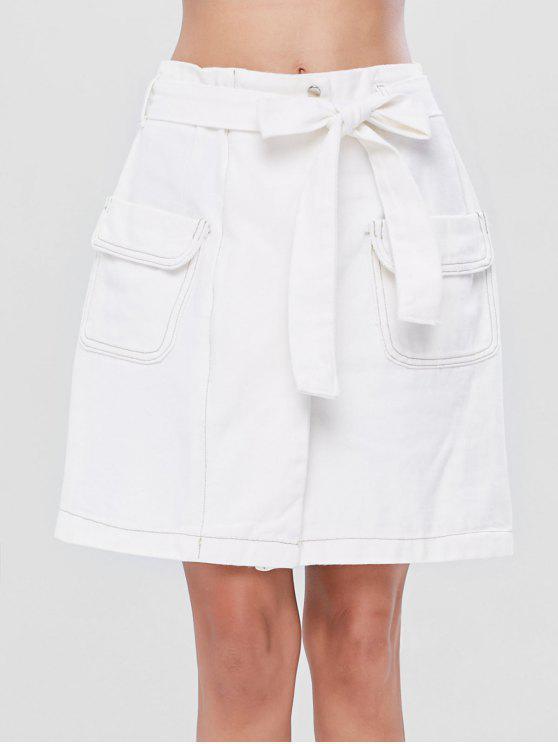 Belted جيب خط تنورة - أبيض M