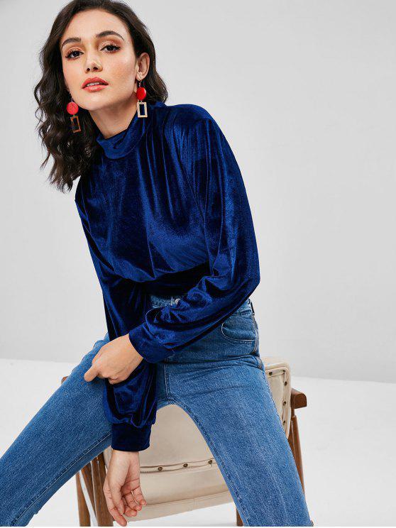Sweat-Shirt Nombril Exposé en Velours à Col Montant - Bleu Marine M