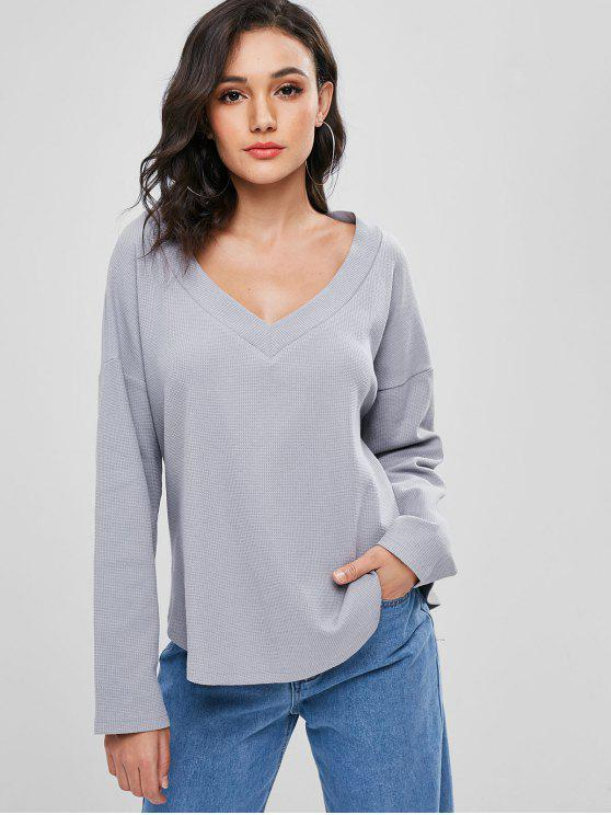best Plain Textured Top - GRAY CLOUD S