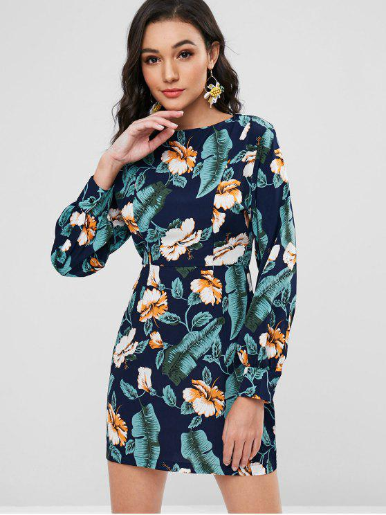 womens Back Zipper Floral Long Sleeve Dress - MIDNIGHT BLUE L
