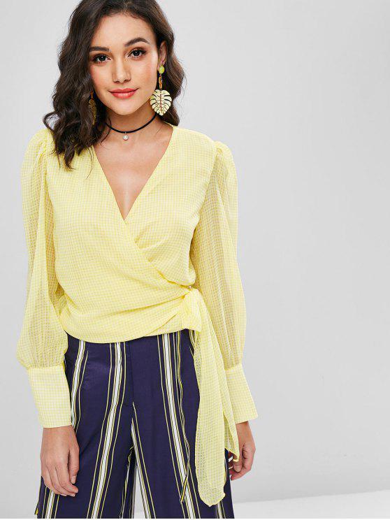 women Gingham Semi Sheer Wrap Tie Blouse - SUN YELLOW M