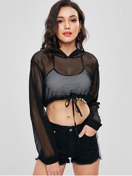 7d90e255c45 outfits Fishnet Drop Shoulder Crop Hoodie - BLACK L