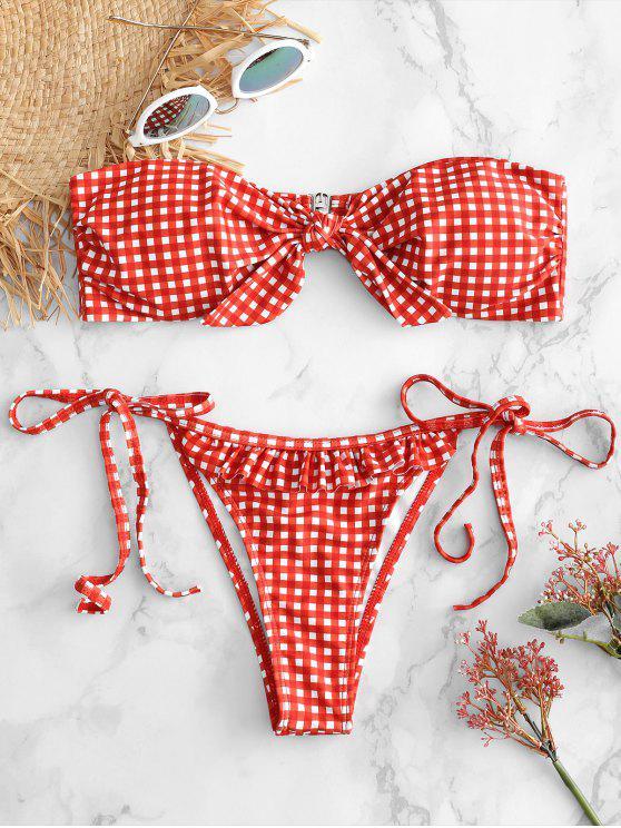 Ensemble de Bikini à Volants à Carreaux Noué en Avant - Rouge Lave M