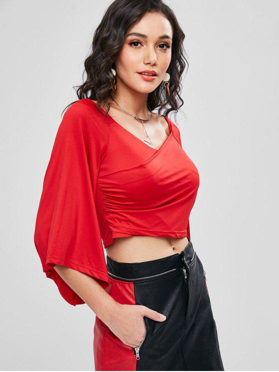 new Wide V Neck Crossover Flare Sleeve Top - LOVE RED S
