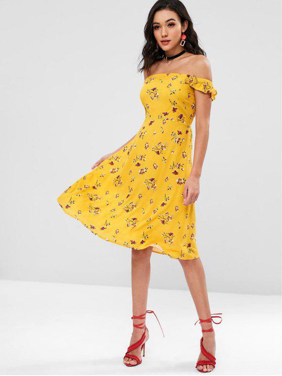 womens Floral Ruffles Off Shoulder Dress - BRIGHT YELLOW M
