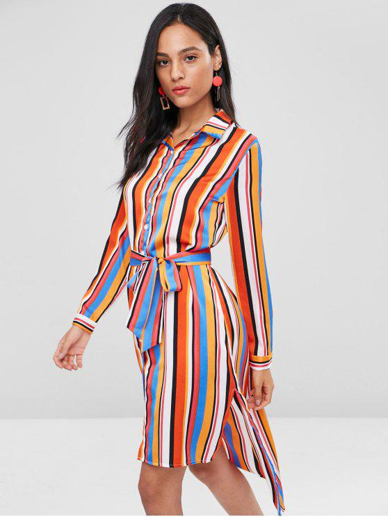 women Slit High Low Stripes Shirt Dress - MULTI M