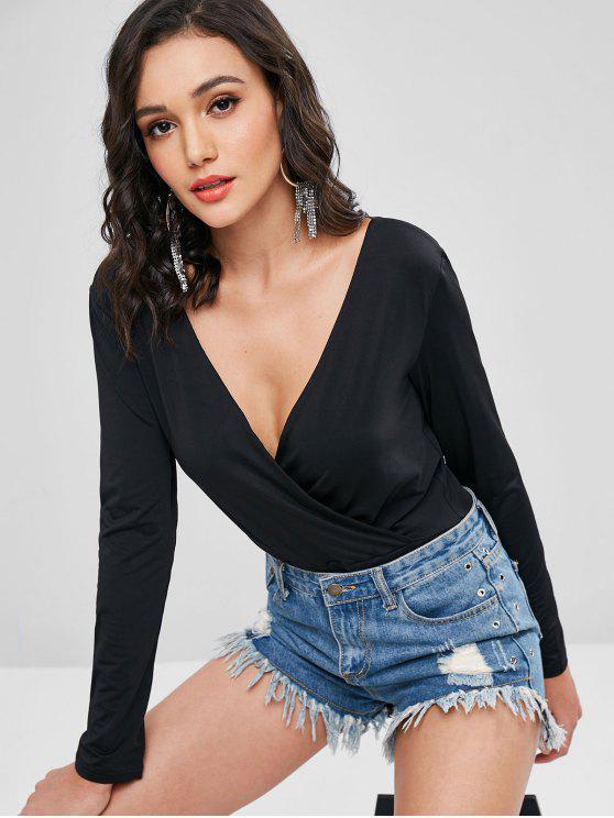69a36601e2c8 2019 Keyhole Surplice Bodysuit In BLACK M