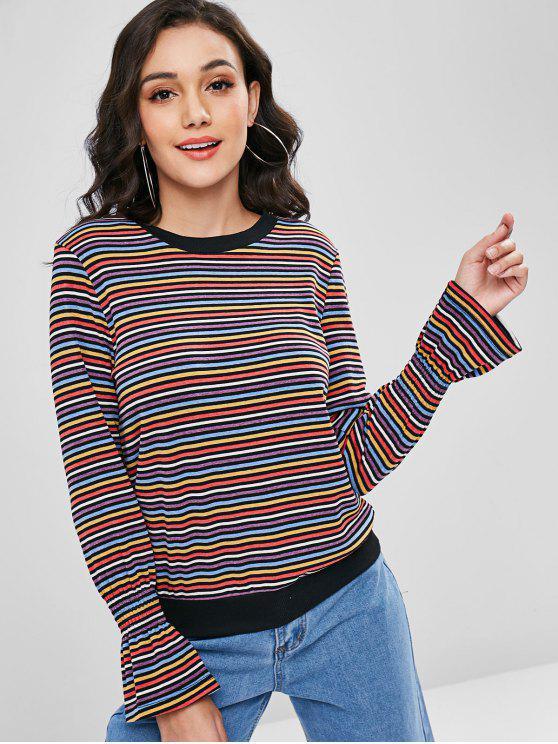Mehrfarbiger Bell Cuffs Striped Sweater - Multi S