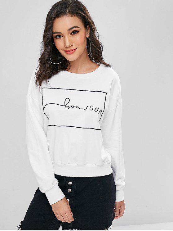 lady Drop Shoulder Letter Embroidered Sweatshirt - WHITE M