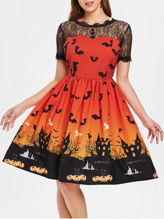 Halloween Vintage-Kleid mit Spitze-Einsatz - Roter Zirkon 2XL