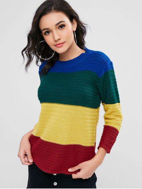 ladies Color Block Striped Textured Sweater - MULTI ONE SIZE