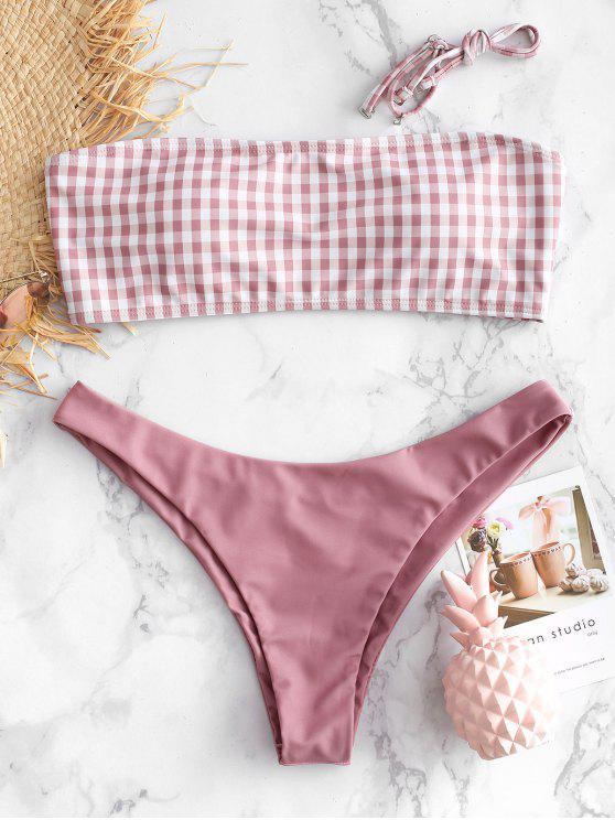Bandeau- Gingan- Bikini -Set - Rosa Gänseblümchen L