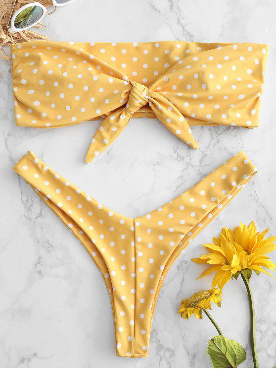 women ZAFUL Polka Dot Knot Back Bandeau Bikini Set - RUBBER DUCKY YELLOW L
