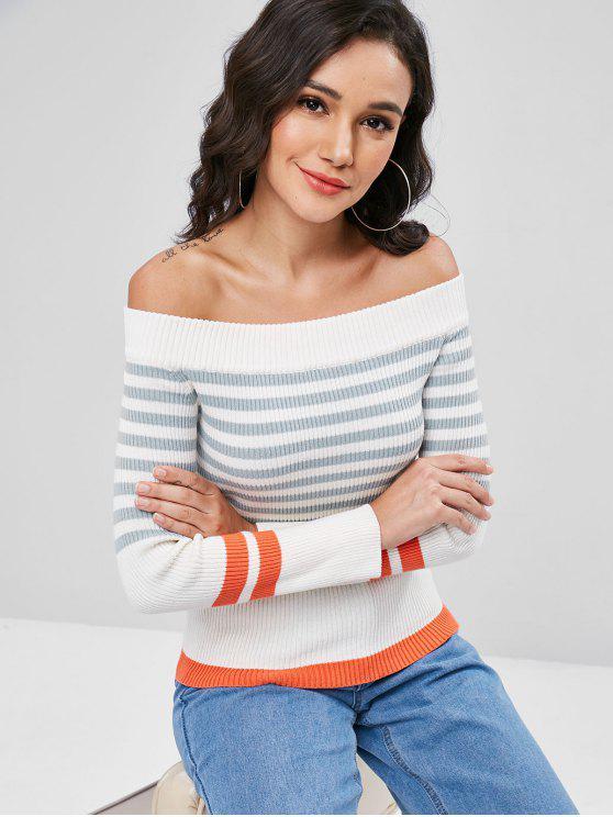 Streifen Schulterpullover - Weiß L
