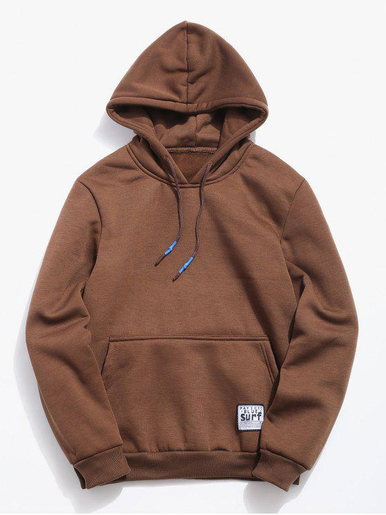buy Solid Pouch Pocket Fleece Hoodie - COFFEE S