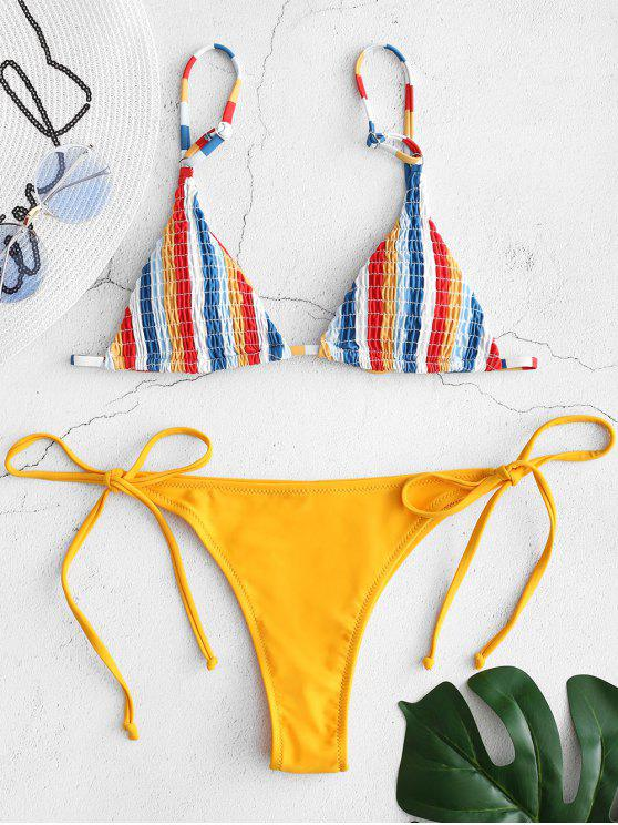 latest Smokced Striped String Bikini Set - MUSTARD M