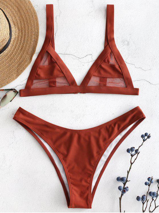 lady Mesh Panel Bikini Set - ROSY FINCH L