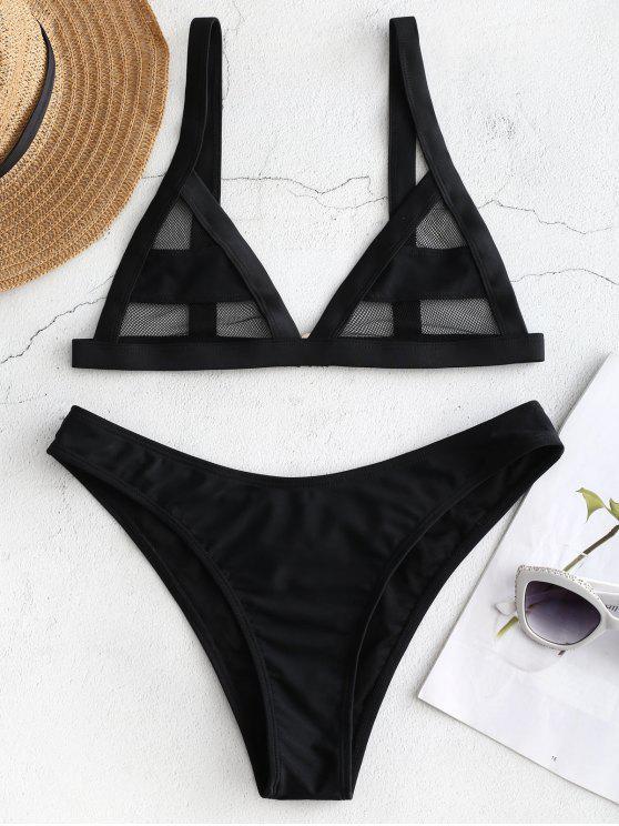Juego de Bikini de panel de malla - Negro S