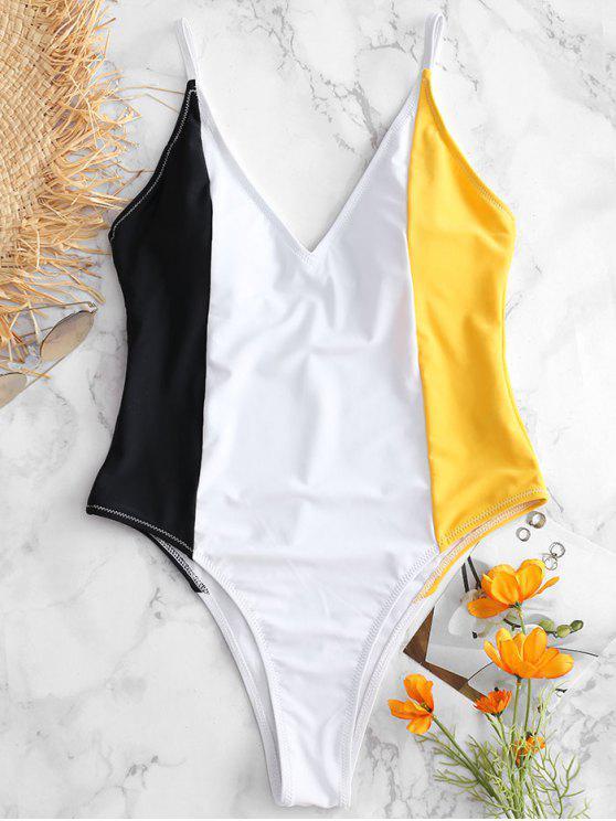 Costume Intero A Blocchi Di Colore - Giallo Luminoso L