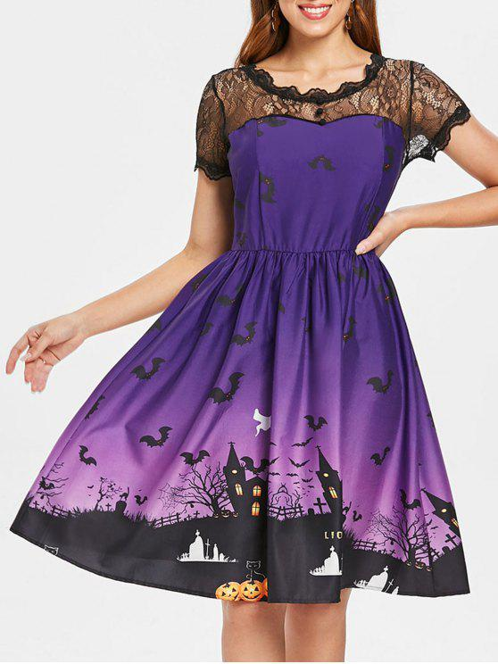 best Halloween Vintage Lace Insert Pin Up Dress - PURPLE M
