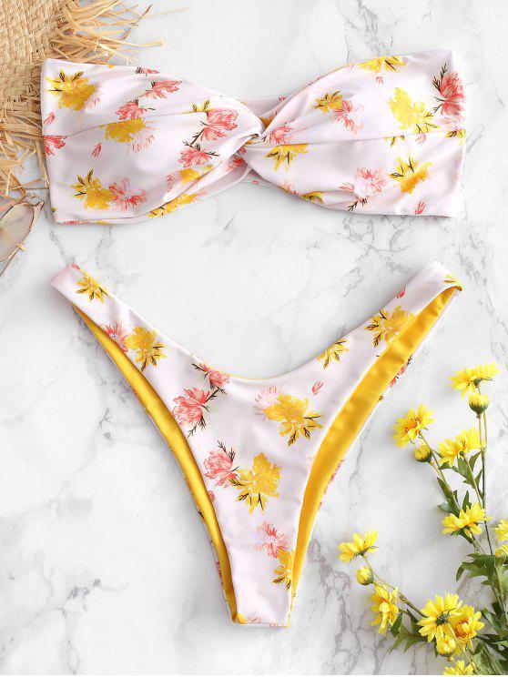 Bandeau Floral Twist Bikini Set - متعدد L