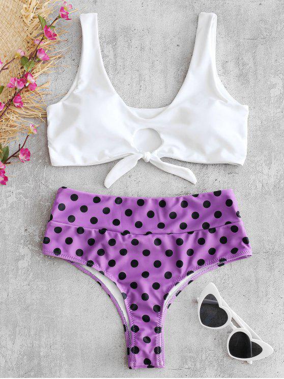 Ensemble de Bikini Noué à Pois avec Trou de Serrure - Fleur Violet L