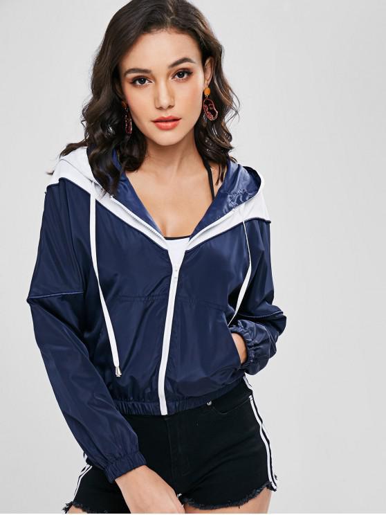 womens ZAFUL Zip Up Two Tone Windbreaker Jacket - DARK SLATE BLUE L