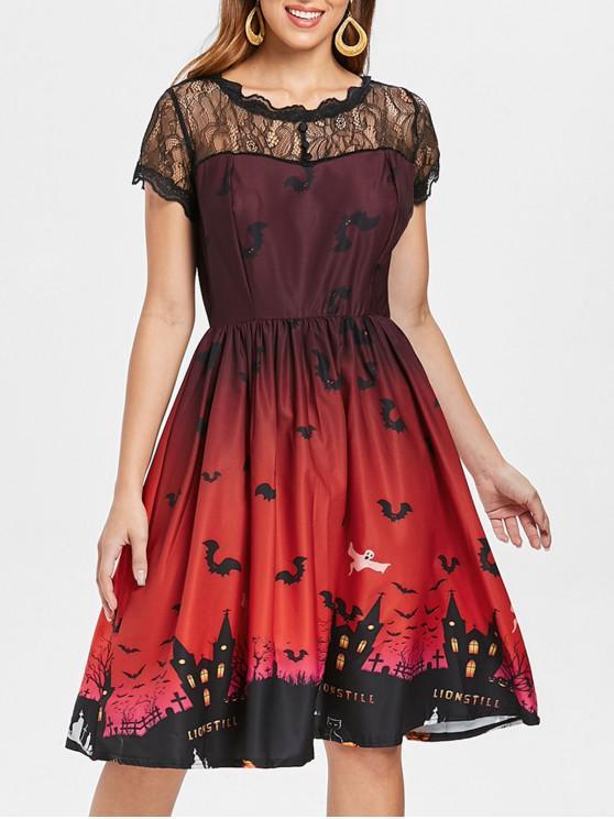 Halloween Vintage-Kleid mit Spitze-Einsatz - Dunkelrot L
