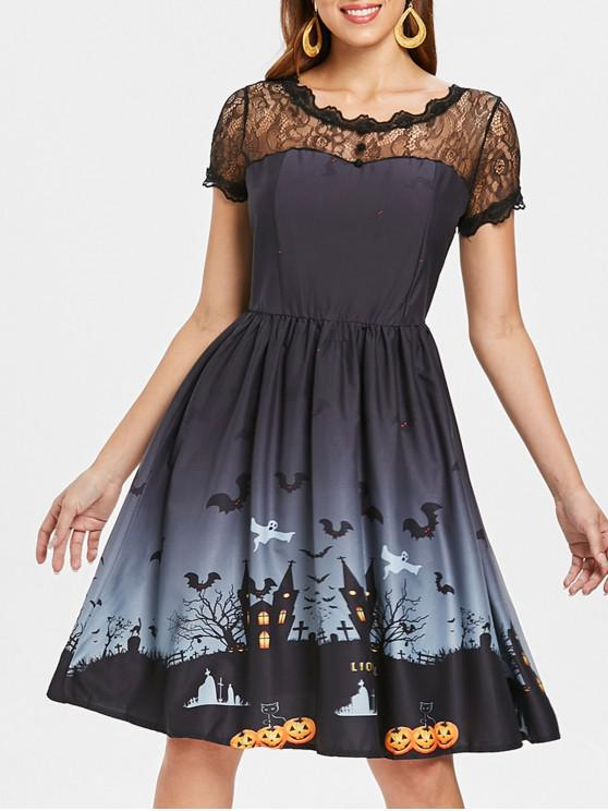 outfit Halloween Vintage Lace Insert Pin Up Dress - DARK GREY L