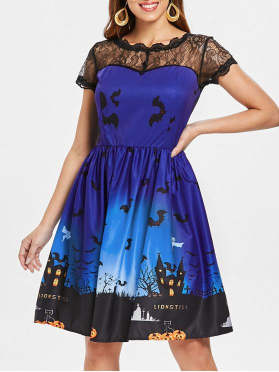 Halloween Vintage-Kleid mit Spitze-Einsatz - Königlich Blau 2XL
