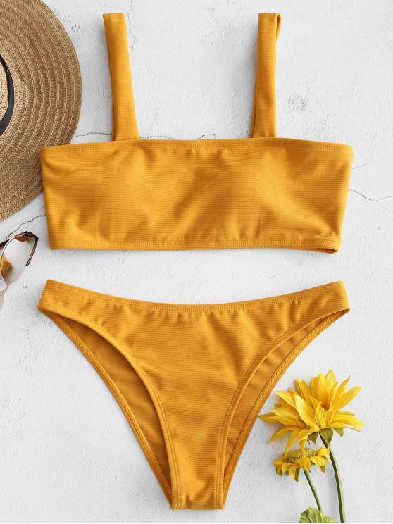 unique Ribbed Bikini Set - BRIGHT YELLOW S