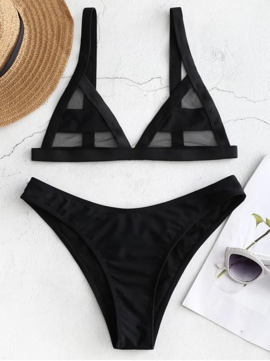 hot Mesh Panel Bikini Set - BLACK M