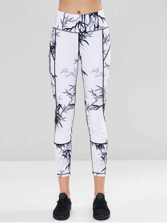 hot Bamboo Print Sports Gym Leggings - WHITE S