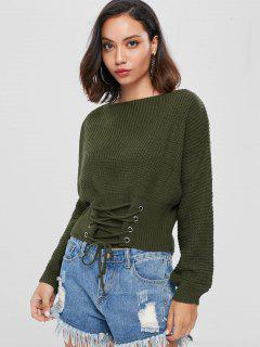 Lace Up Slash Neck Bandage Sweater - Army Green