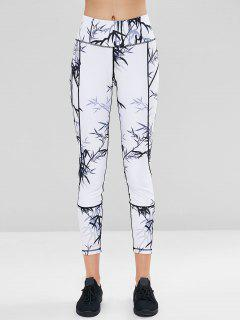 Bamboo Print Sports Gym Leggings - White L