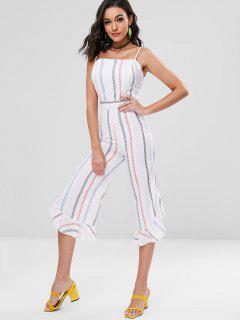 Cami Striped Ruffle Cuff Wide Leg Jumpsuit - White L