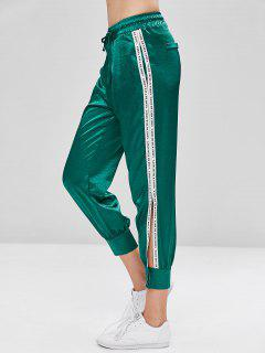 Drawstring Letter Button Embellished Pants - Beetle Green M