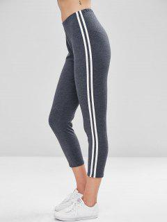 Striped High Waisted Ninth Leggings - Gray M